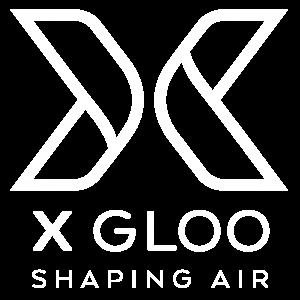 Das Logo der Marke X GLOO von Skywalk GmbH & Co. KG in weiß: Anbieter für aufblasbare Eventzelte.